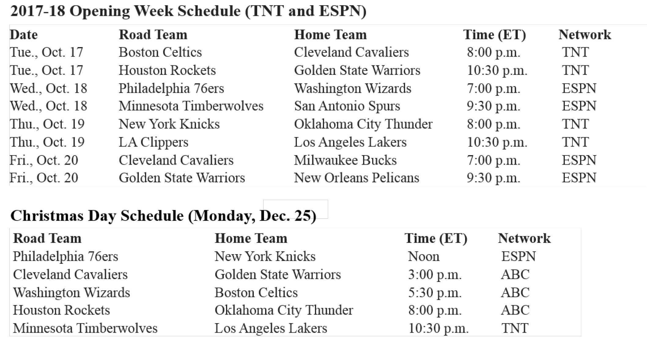 NBA Unveils National TV Schedule For 2017 18 Opening Week