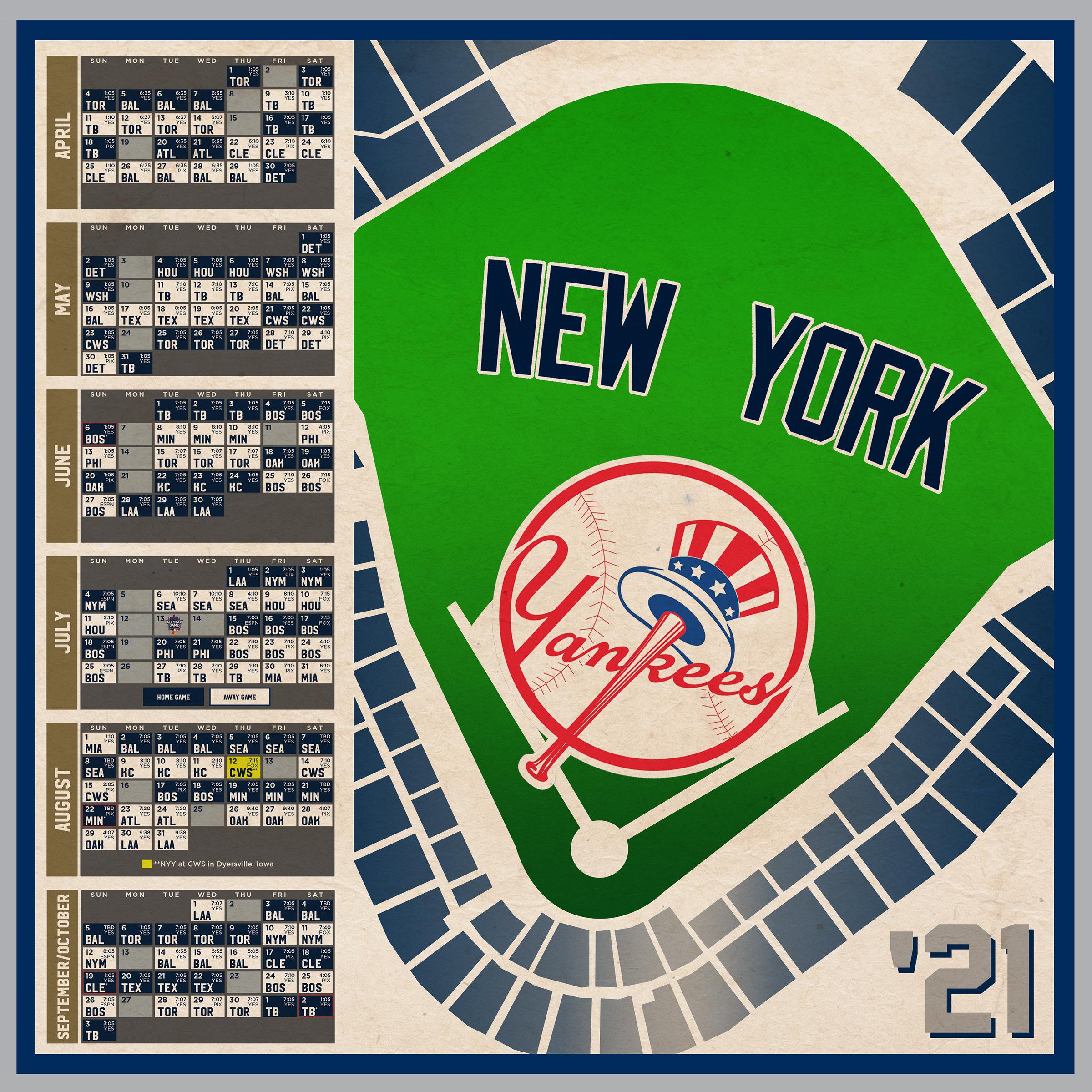 New York Yankees 2021 Schedule Print Etsy