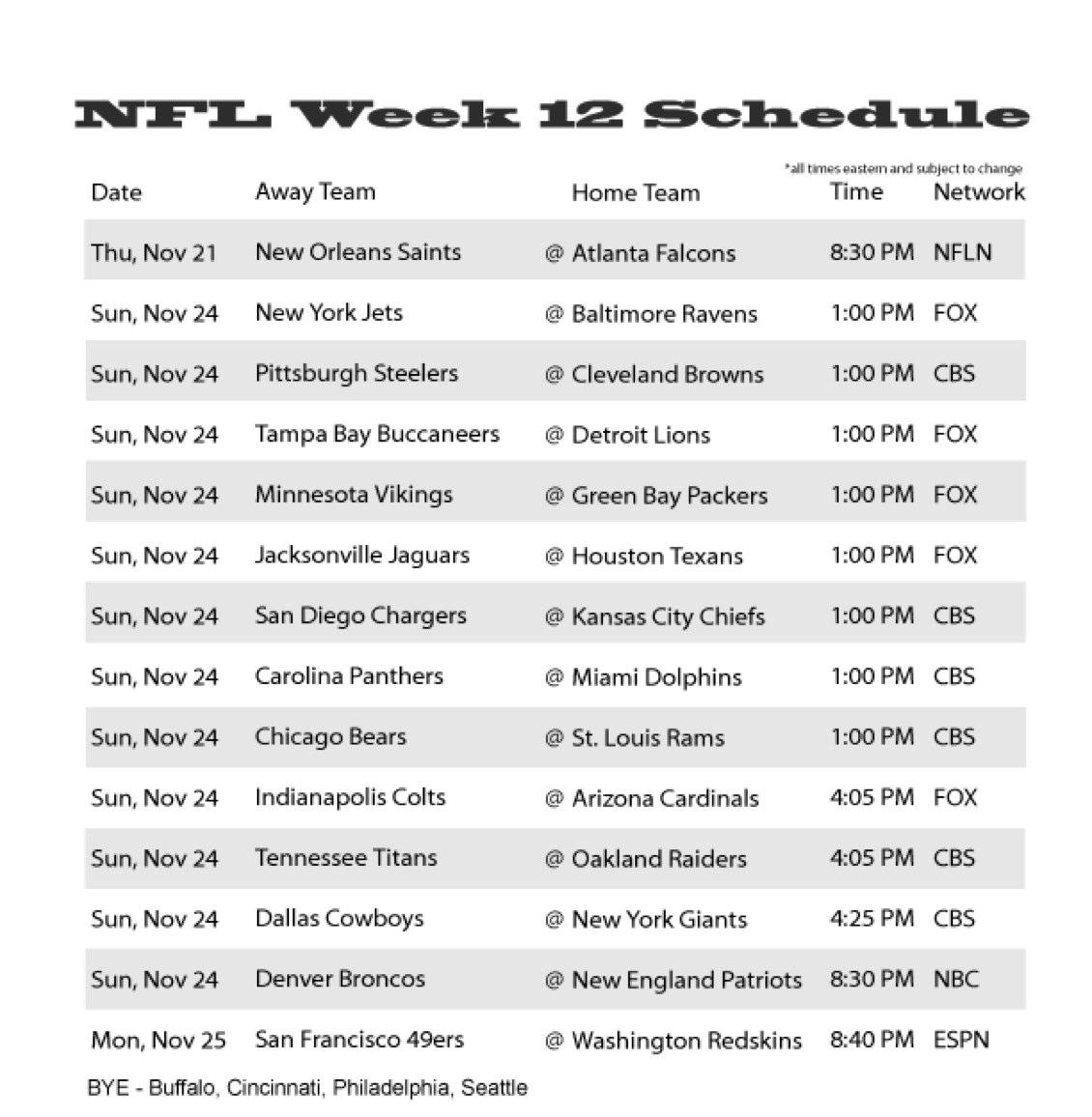 Nfl week 12 schedule 2013