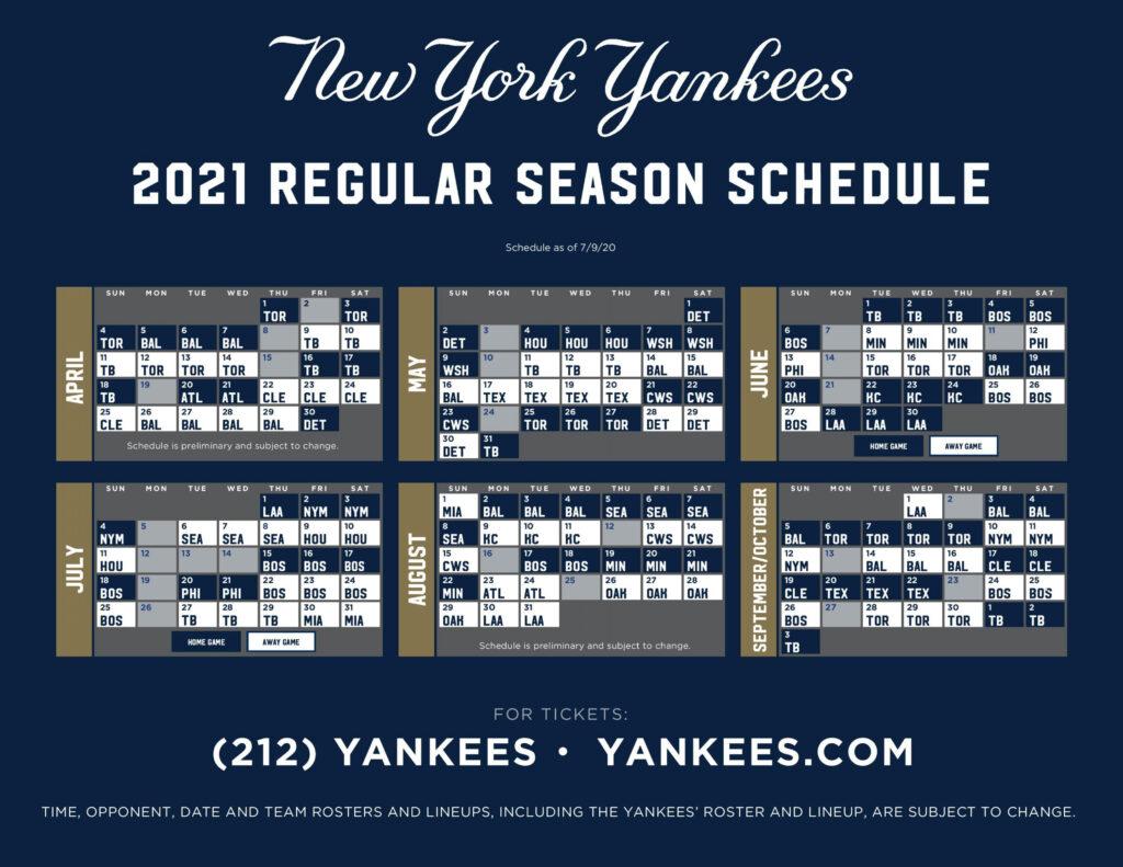 NY Yankees Baseball 2021 Schedule Hometown 1340 AM 105