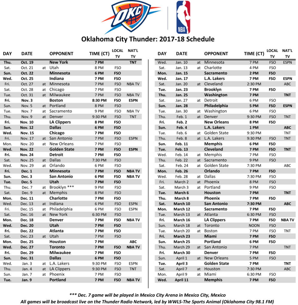 Okc Thunder Printable Schedule That Are Witty Hudson Website