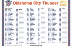 Okc Thunder Schedule 2019 20 Printable TUTORE ORG