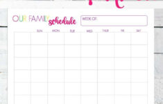 Our Family Weekly Schedule Printable Simple Living Mama