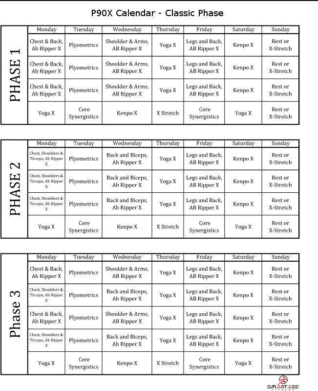 P90X Schedule Smart Ass Fitness