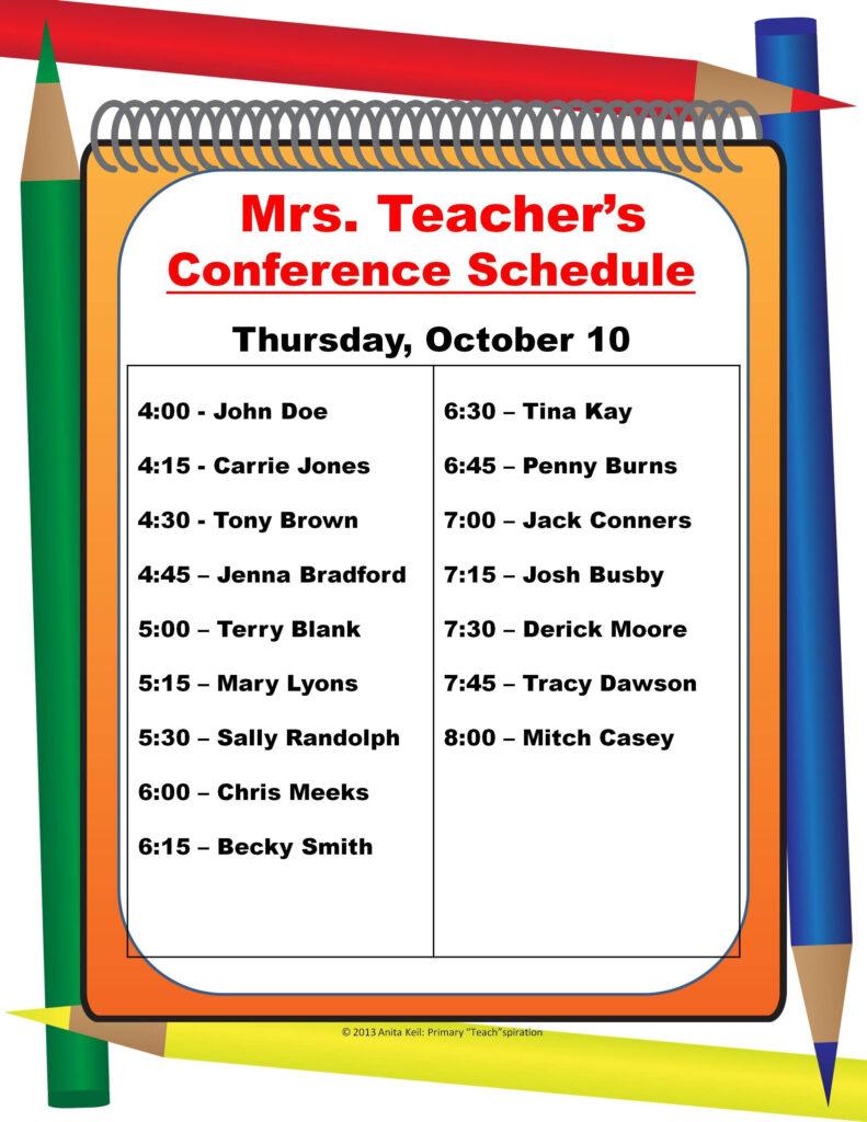 Parent Teacher Conference Schedule Poster
