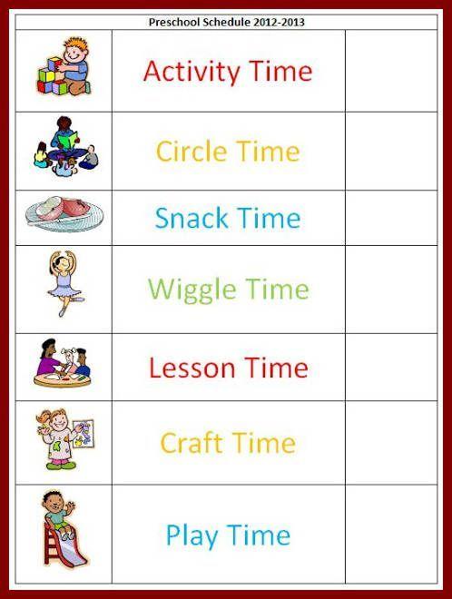 Pin Free Preschool Daily Schedule Template Tattoo Re