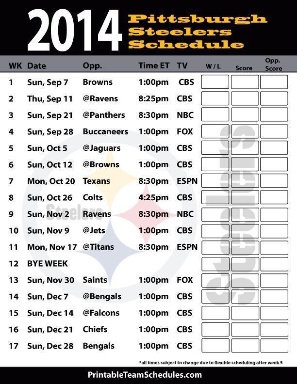 Pittsburgh Steelers 2014 Football Schedule Print