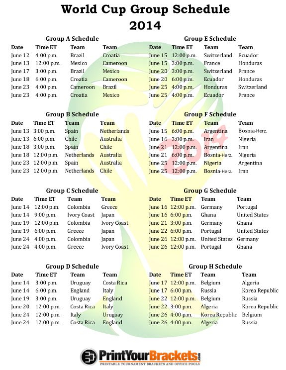 Printable 2014 World Cup Group Schedule World Cup Groups