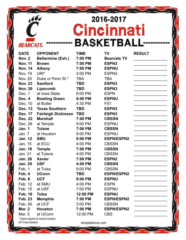 Printable 2016 2017 Cincinnati Bearcats Basketball Schedule