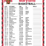 Printable 2016 2017 Maryland Terrapins Basketball Schedule