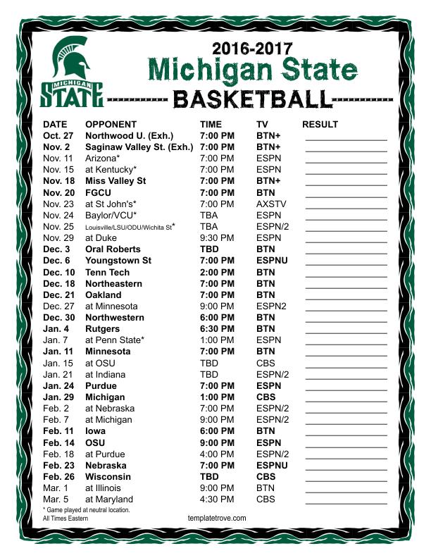 Printable 2016 2017 Michigan State Spartans Basketball