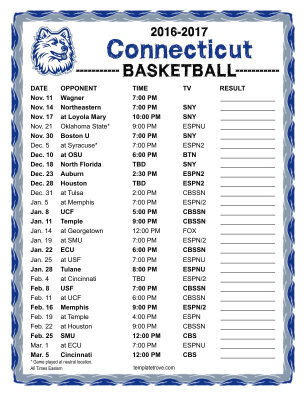Printable 2016 2017 UConn Huskies Basketball Schedule