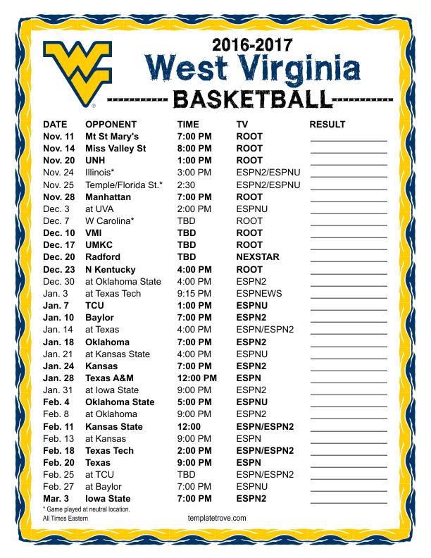 Printable 2016 2017 West Virginia Mountaineers Basketball