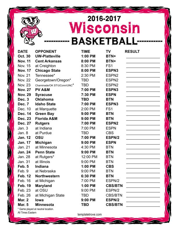 Printable 2016 2017 Wisconsin Badgers Basketball Schedule