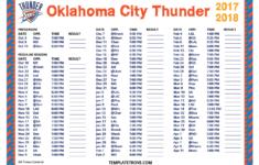 Printable 2017 2018 Oklahoma City Thunder Schedule