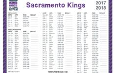Printable 2017 2018 Sacramento Kings Schedule