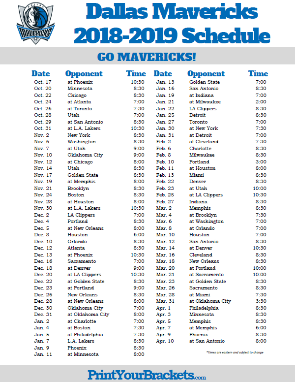 Printable 2018 2019 Dallas Mavericks Schedule Dallas