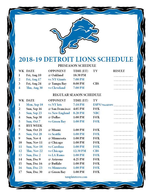 Printable 2018 2019 Detroit Lions Schedule