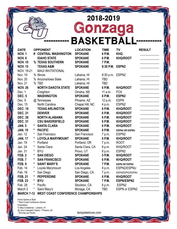 Printable 2018 2019 Gonzaga Bulldogs Basketball Schedule