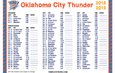 Printable 2018 2019 Oklahoma City Thunder Schedule