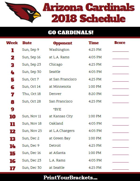 Printable 2018 Arizona Cardinals Football Schedule