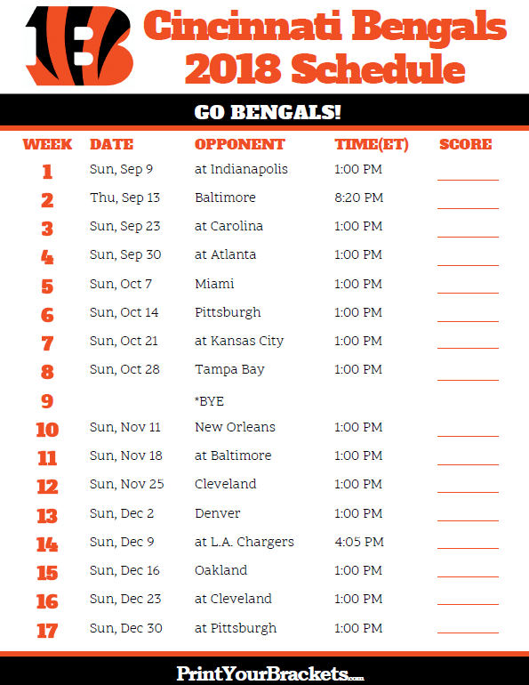 Printable 2018 Cincinnati Bengals Football Schedule