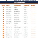 Printable 2018 Denver Broncos Football Schedule