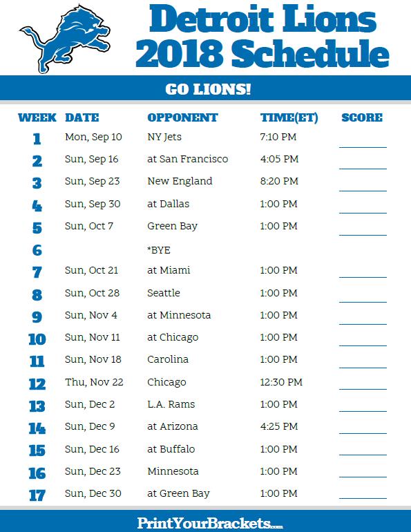 Printable 2018 Detroit Lions Football Schedule
