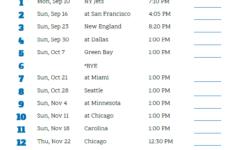 Detroit Lions Printable Schedule