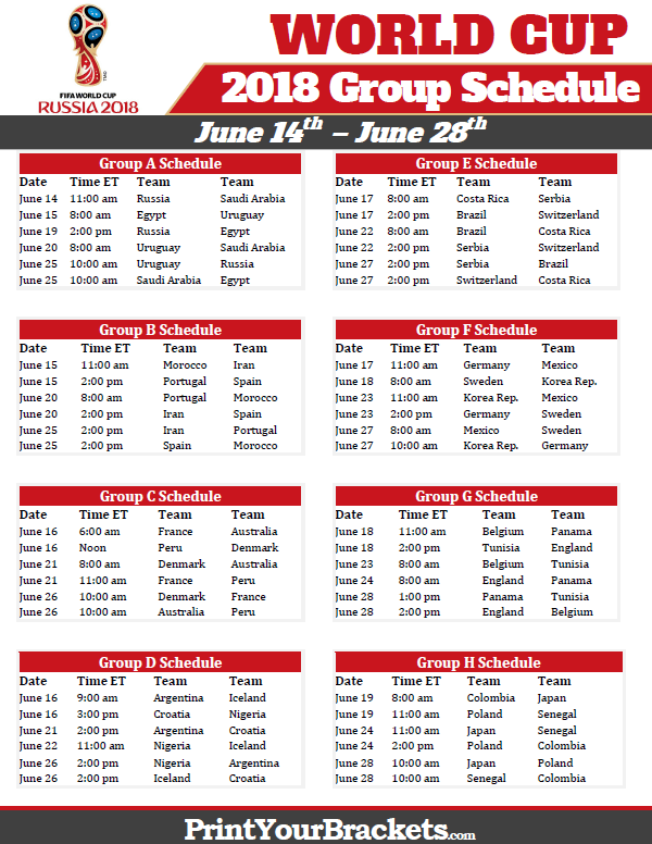 Printable 2018 World Cup Group Schedule