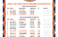 Printable 2019 2020 Chicago Bears Schedule