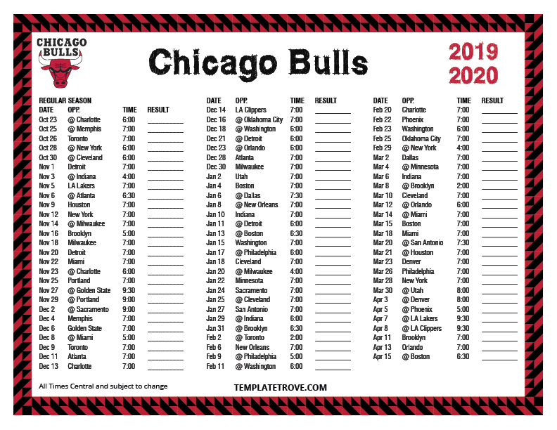 Printable 2019 2020 Chicago Bulls Schedule