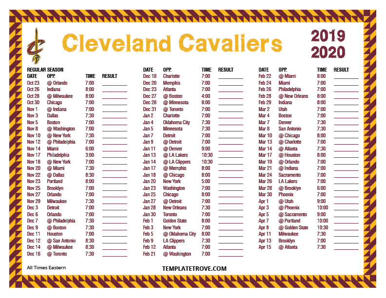 Printable 2019 2020 Cleveland Cavaliers Schedule
