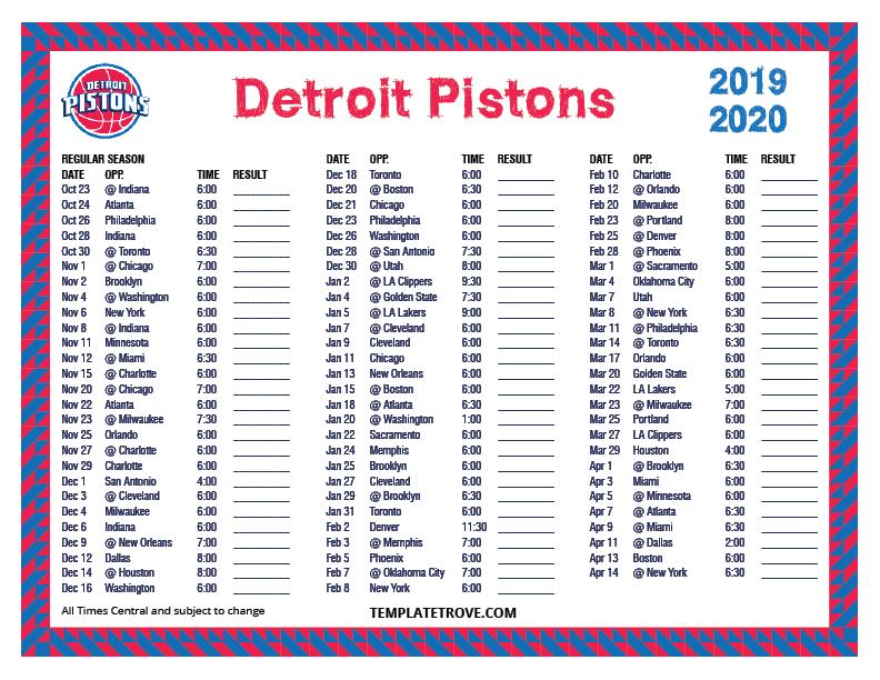 Printable 2019 2020 Detroit Pistons Schedule