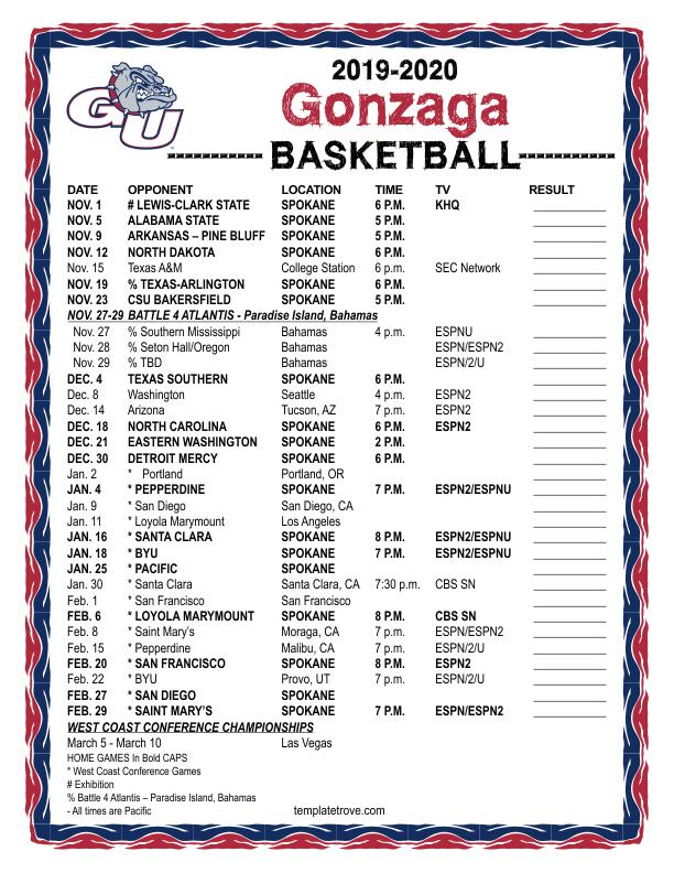 Printable 2019 2020 Gonzaga Bulldogs Basketball Schedule