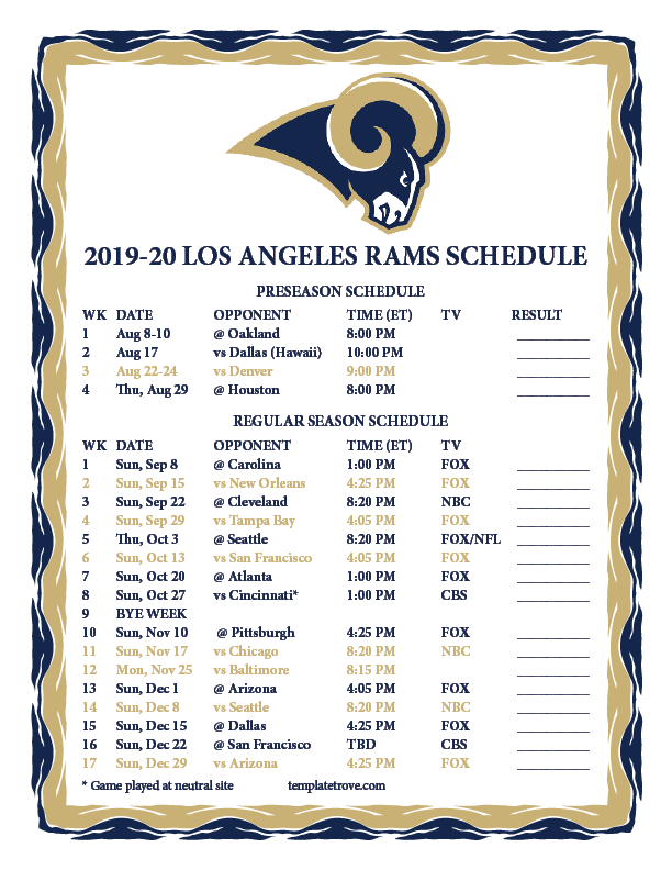 Printable 2019 2020 Los Angeles Rams Schedule