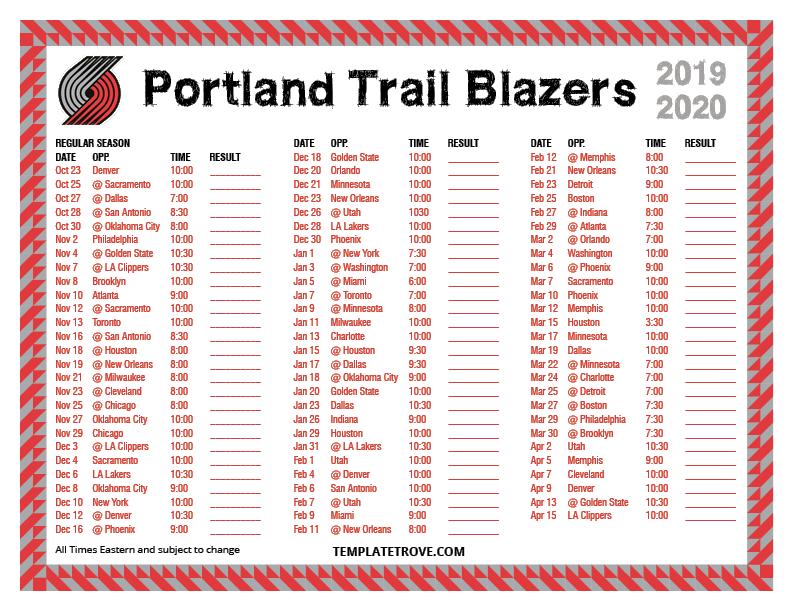 Printable 2019 2020 Portland Trail Blazers Schedule