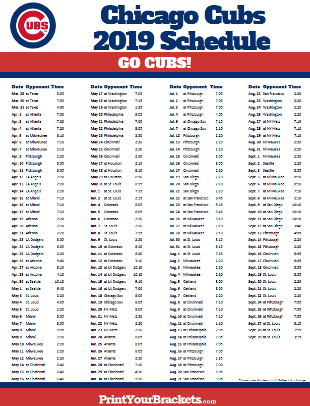 Printable 2019 Chicago Cubs Schedule Chicago Cubs