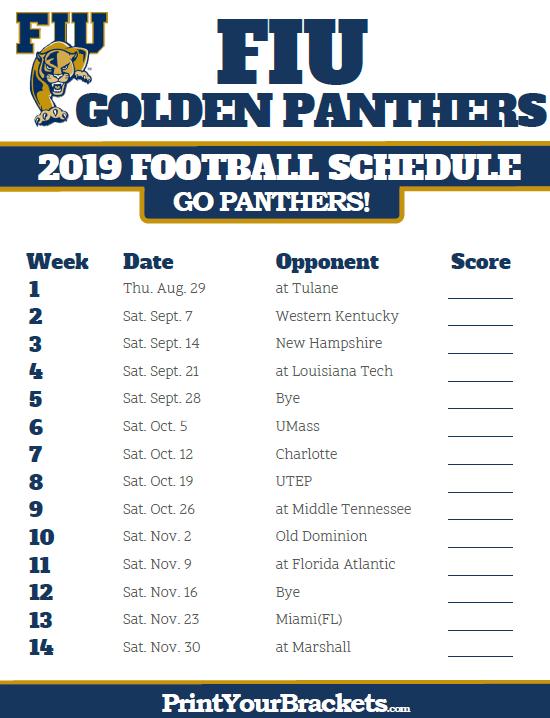 Printable 2019 FIU Golden Panthers Football Schedule
