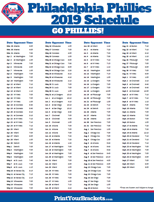 Printable 2019 Philadelphia Phillies Schedule With Images