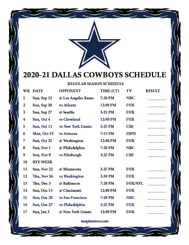Printable 2020 2021 Dallas Cowboys Schedule