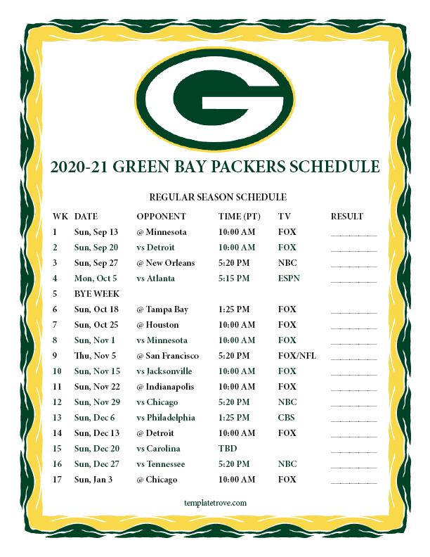 Printable 2020 2021 Green Bay Packers Schedule