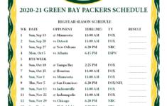 2021 Packers Schedule Printable
