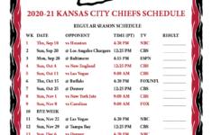 Printable Kansas City Chiefs Schedule 2021