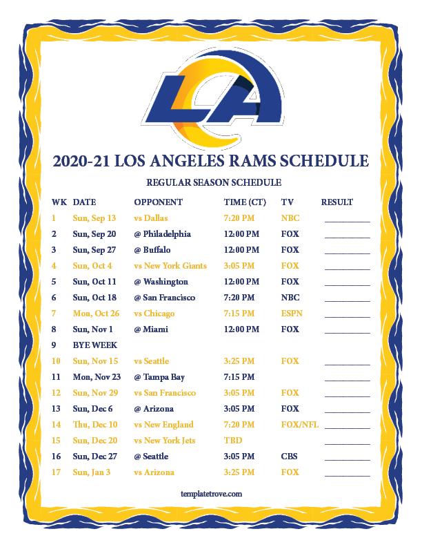 Printable 2020 2021 Los Angeles Rams Schedule