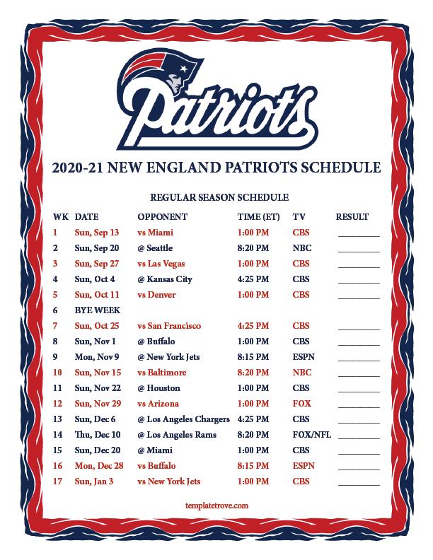 Printable 2020 2021 New England Patriots Schedule