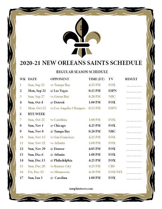 Printable 2020 2021 New Orleans Saints Schedule