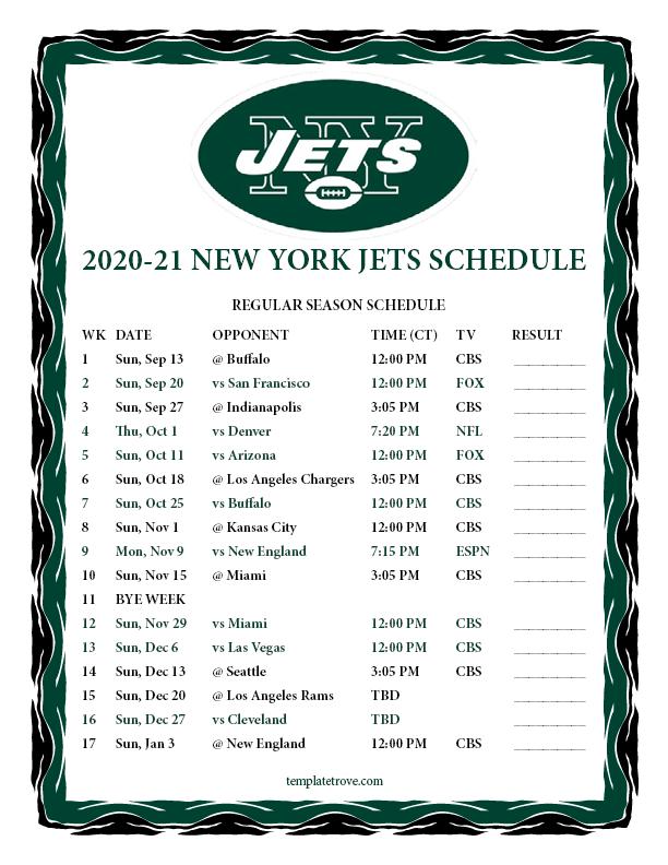Printable 2020 2021 New York Jets Schedule