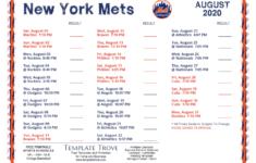 Printable 2020 New York Mets Schedule