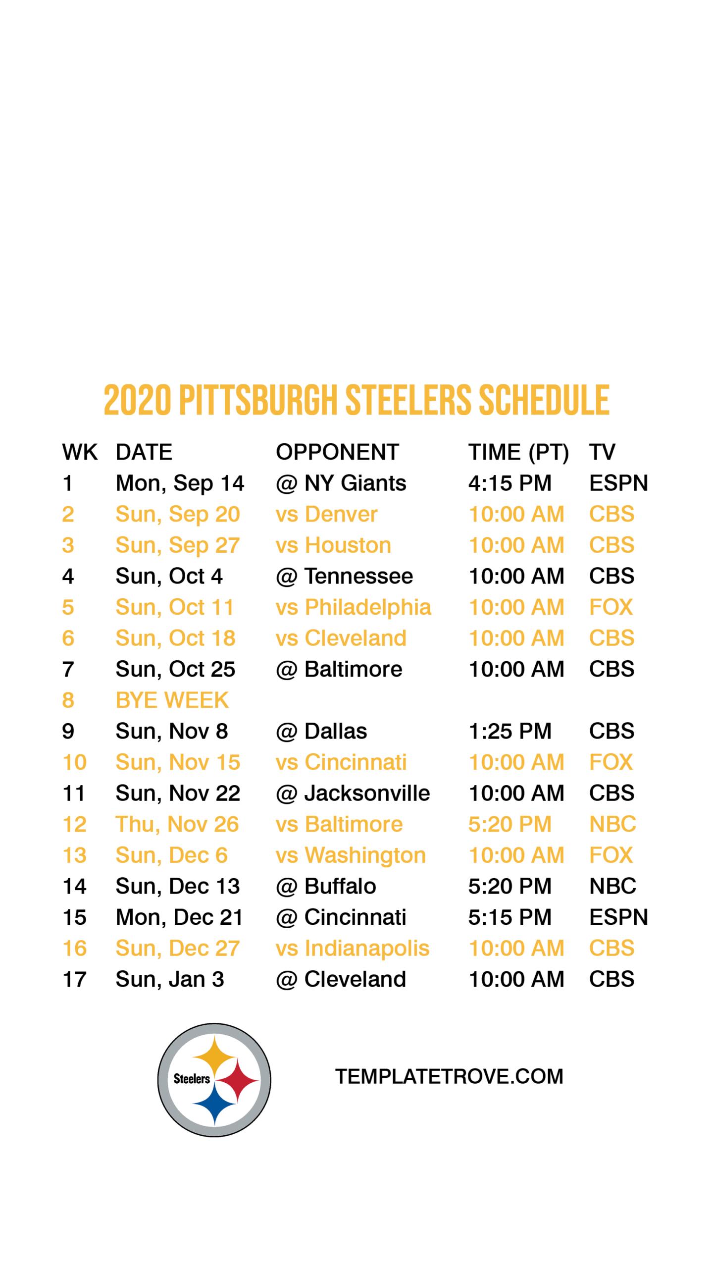 Printable 2021 Nfl Schedule Calendar Printables Free